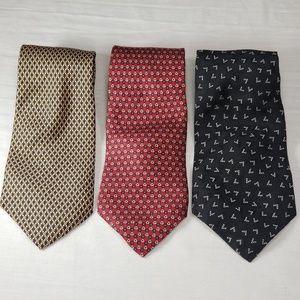 Ralph Lauren Tie Lot Of 3 Various Geometric Design